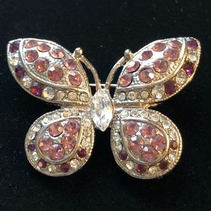 Jewelry - Vintage Butterfly Flower Pin Brooch Pink Purple